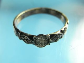 British Silver Medieval 15th Century Lozenged Decorated Finger Ring Uk:l.  (a942) photo
