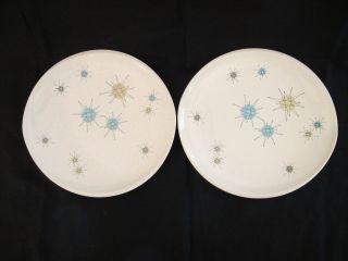 Two Mid Century Modern Star Burst Franciscan Dinner,  Salad Oblong Plates; 11