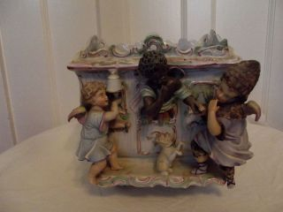 Rare Antique German Bisque Blackamoor Cherub Figural Wheeled Gypsy Cart Planter photo