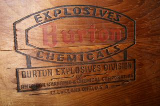 Vintage Wooden Crate Box From Burton Explosives,  American Cyanamid Cleveland Oh photo
