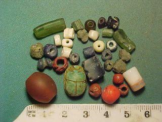 30,  Ancient Beads Circa 1000 Bc - 700 Ad,  Egyptian Scarab Amulet photo