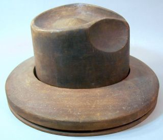 Antique Wood Millinery Hat Crown & Brim Block Mold Form Fedora - Panrex Chicago photo
