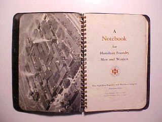 1948 Hamilton Foundry Hamilton Ohio Notebook Belonged To Time Keeper 48 Pages Vg photo