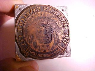 1895 American Envelope Co.  Dayton Ohio Printing Block W/indian Chief Fine photo