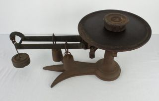 Antique Fairbanks Beam Balance Cast Iron & Brass Scale Crows Foot Base photo