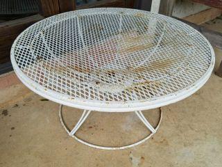 Mid Century Homecrest Wire Wrought Iron Small Patio Table Salterini Style White photo