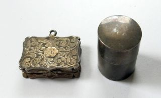 Antique British Sterling Silver Vesta Case & 1843 Vinaigrette By Nathaniel Mills photo