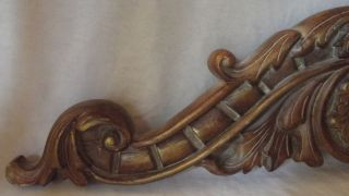 Large Vintage Brushed Antique Gold Scroll Wood Topper Pediment 33 - 1/2