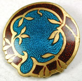 Antique French Enamel Button Colorful Aqua & Red Basse Taille Design - 1