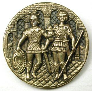 Lg Sz Antique Screen Back Brass Button 2 Roman Soldiers Scene - 1 & 3/8