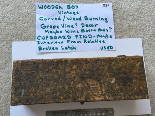 . Wooden Box With Hinge Lid & Clasp - Wine Bottle Box?? Picture For Details (237) photo