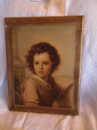 Large Vintage Italian Florentine Toleware Gold Gilt Wall Plaque Young Boy Prado photo