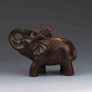 Chinese Bronze Gilt Hand - Carved Elephant Statues G468 photo