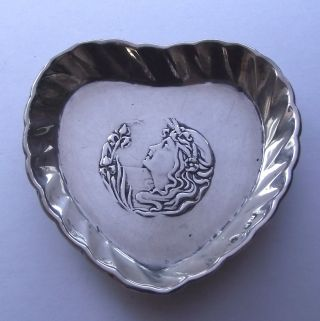 Art Nouveau Silver Love Heart Pin Tray Hallmarked 1903 photo