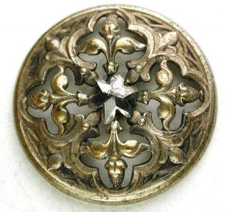 Antique Pierced Brass Button Fleur De Lis W/ Cut Steel Star Center - 1 & 1/16