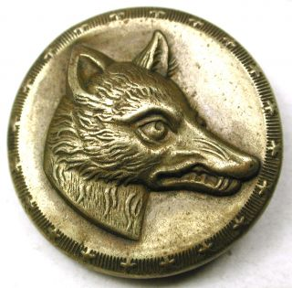 Antique Brass Sporting Button Fox Head Design - 7/8