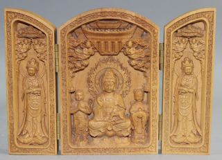 Chinese Wood Carved Floding Box - - - Bodhisattva & Heart Sutra photo