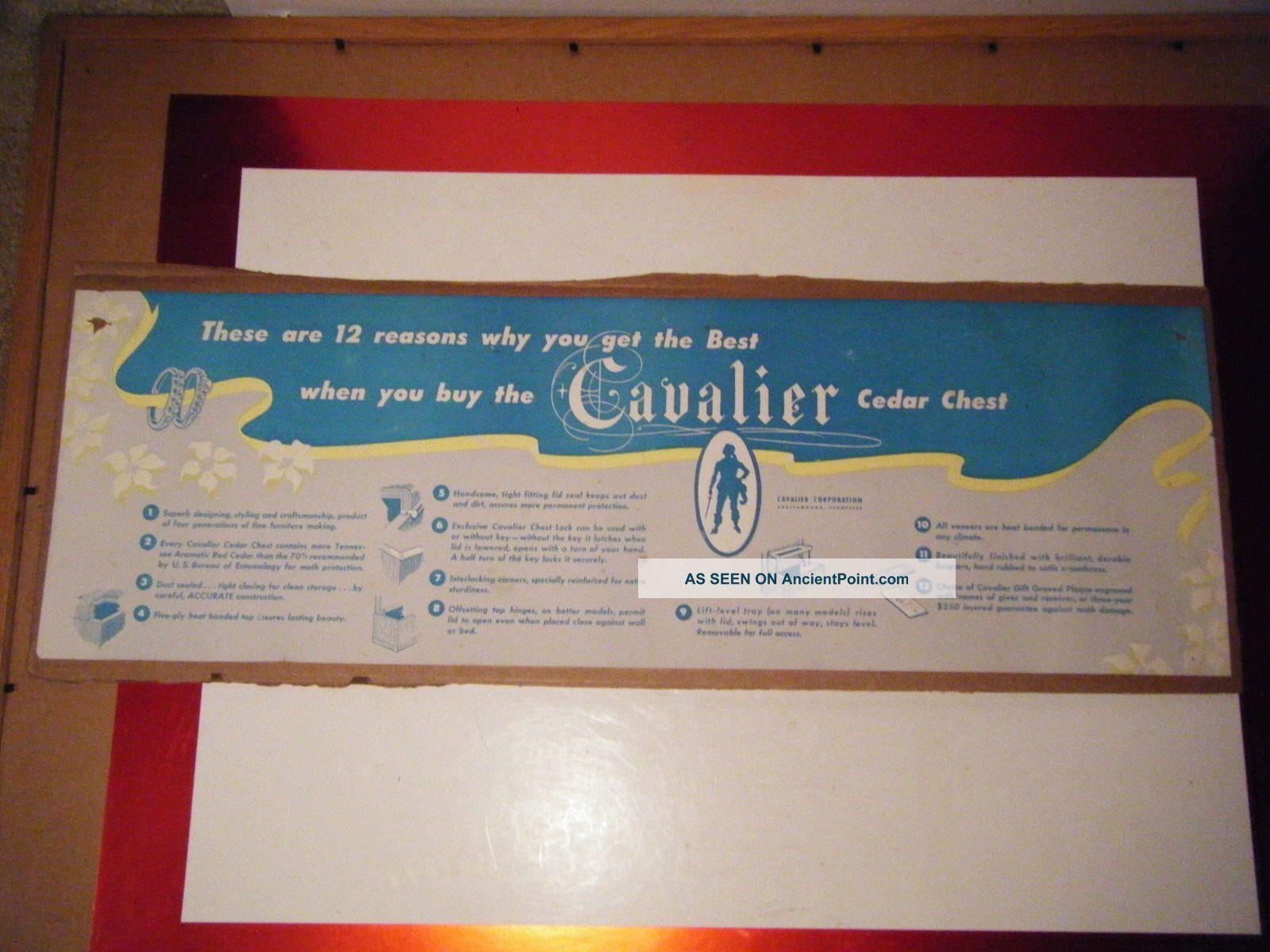 Vintage Cavalier Cedar Chest Sign 27