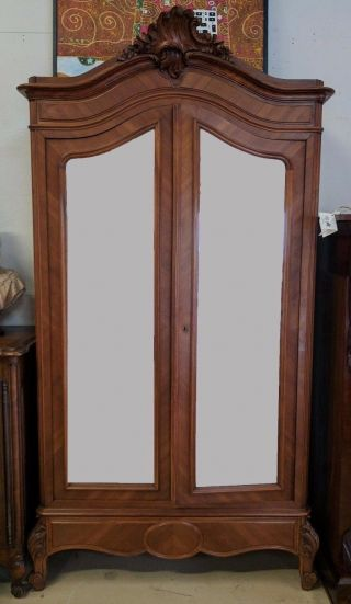 Antique French Louis Xv Walnut Armoire W Double Mirrored Door photo