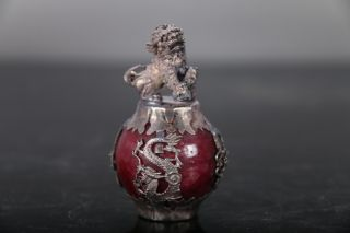 Chinese Hand Carved Lion Tibetan Silver Inlay Statue E520 photo