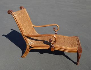 Unique Vintage Tiki Palm Beach Style Rattan & Carved Wood Lounge Chair photo