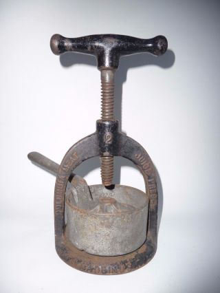 Cast Iron Kitchen Tool 1800s 3 Piece Columbia Meat Juice Press,  Britain Ct photo