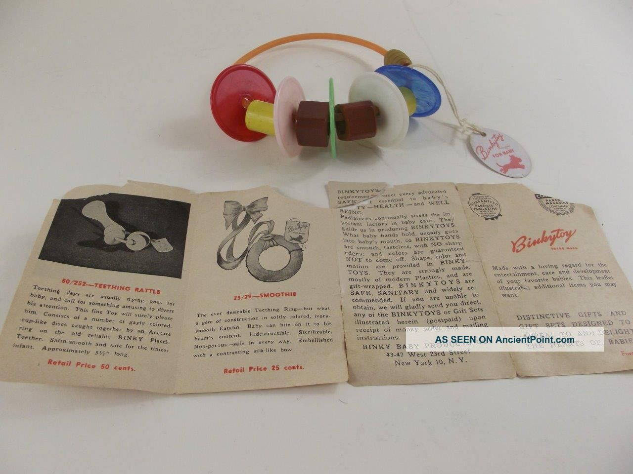 Vintage Binky Baby Products Rattle Toy Binkytoys With Tag 1950 Baby Carriages & Buggies photo