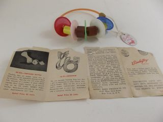 Vintage Binky Baby Products Rattle Toy Binkytoys With Tag 1950 photo