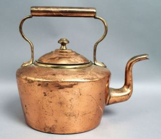 Handsome Antique 19c European Dovetailed Copper Hot Water Tea Kettle photo