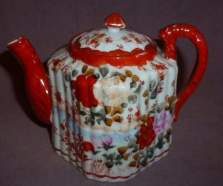 Kutani Teapot Very Unusual Shape Hand Painted 1850 - 1880 Mark To Base photo