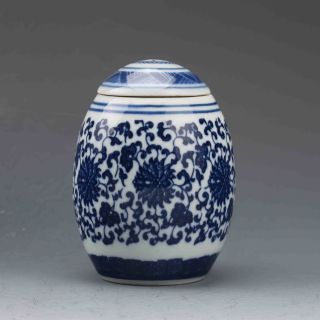 Chinese Blue And White Porcelain Hand Painted Fu Pot W Qianlong Mark G563 photo