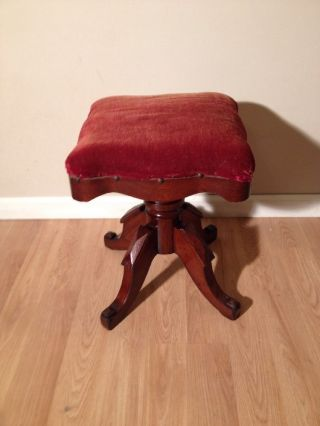 Antique Victorian C.  W.  Chadwick Swivel Piano Stool photo