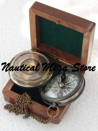 Vintage Robert Frost Poem Compass Brass Compass Nautical Compass Collectible photo
