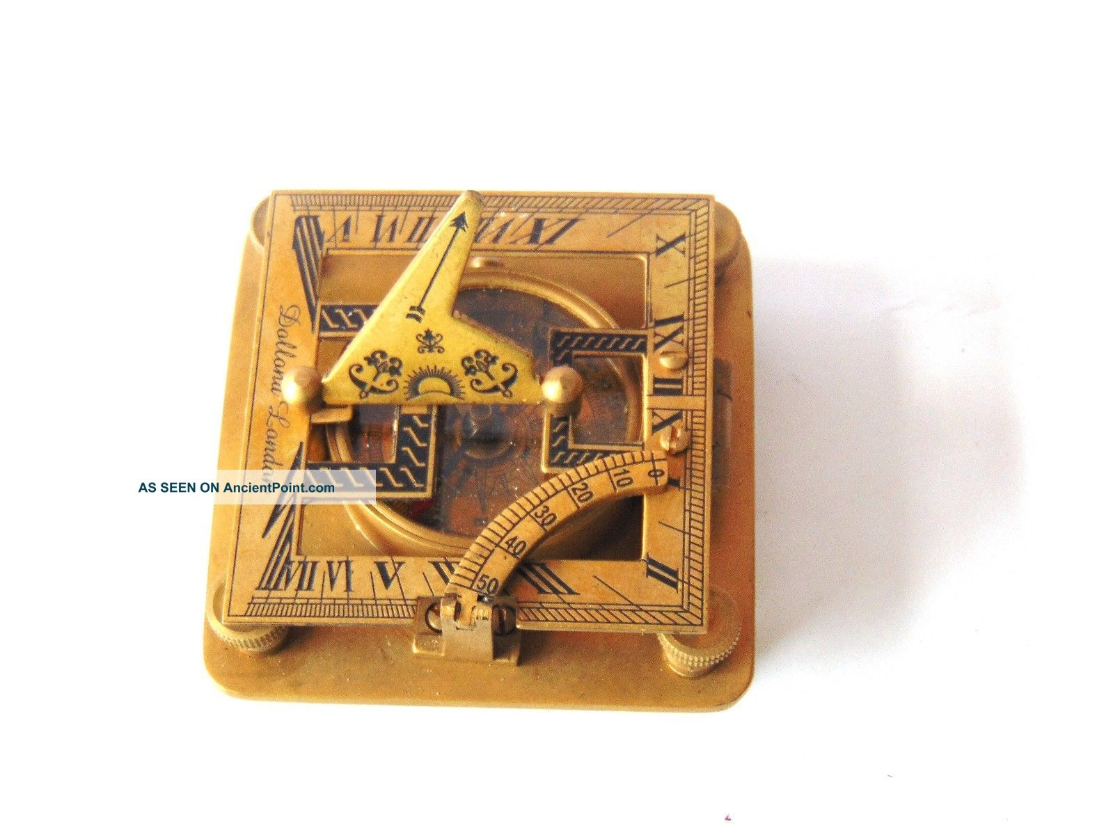 Antique Solid Brass Sundial Compass - Square Shape Sundial Compass - Sun Clock Compasses photo