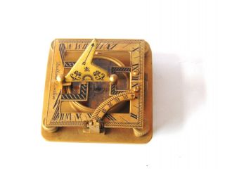 Antique Solid Brass Sundial Compass - Square Shape Sundial Compass - Sun Clock photo