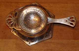 Vintage Israel Freeman & Son,  Silverplate Tea Infuser & Tray,  England,  C.  1900 photo