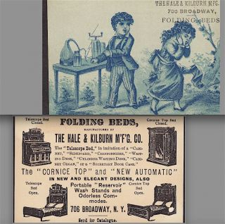 19th Century Electric Chemistry Experiment Hale & Kilburn Folding Bed Ny Ad Card photo