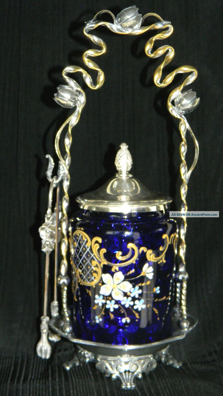 Antique Victorian Pickle Castor Cobalt Blue Insert With Flowers And Gold Motives Other Antique Silverplate photo