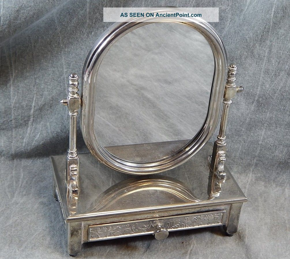 Vintage Silver Plated Or Chromed Or Nickel Dresser Mirror With Jewelry Draws Other Antique Silverplate photo