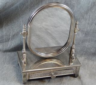 Vintage Silver Plated Or Chromed Or Nickel Dresser Mirror With Jewelry Draws photo
