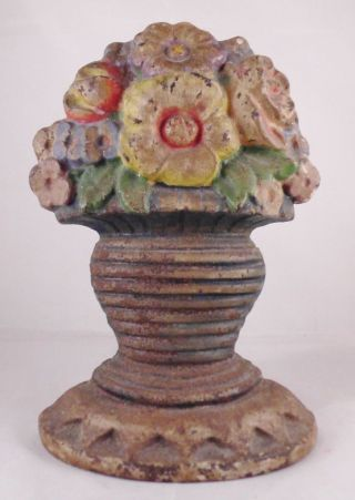 Antique Cast Iron Door Stop Flower Basket Bouquet Doorstop photo