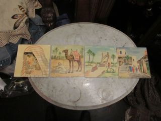 4 Vintage Hand Painted Tiles,  Germany/czeck Moroccan Scene photo