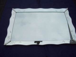Large Vtg Venetian Style Etched Cut Glass Scalloped Wall Mirror Art Deco 53x36 photo