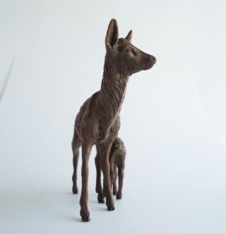 Vienna Austria Antique Cold Painted Bronze Mother Deer Doe And Her Fawn,  Signed, photo