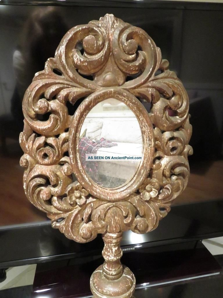 Rare Large Victorian Dresser Top Oval Vanity Mirror Ornate Wood Frame And Stand