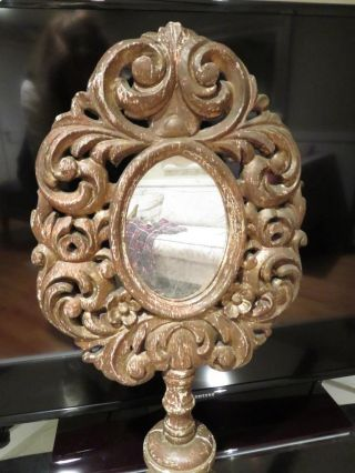 Rare Large Victorian Dresser Top Oval Vanity Mirror Ornate Wood Frame And Stand photo