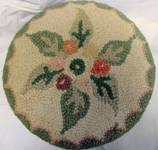 Vintage Hand Done Crewel Needlepoint Flowers Foot Stool Bench Wool 13
