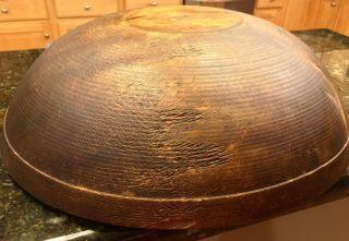 Large Antique 19th Century Handmade Wooden Bowl,  Patina photo
