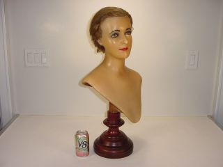 Stunning Antique French Wax Mannequin Bust Glass Eye Real Hair Flapper Girl Head photo