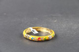 Exquisite Chinese Hand Carving Copper Cloisonne Inlay Rhinestone Bracelet C610 photo